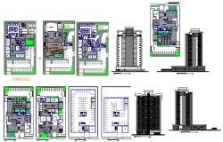 Company building and apartment tower 3d and 2d