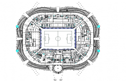 Complete architectural layout plan of a  stadium