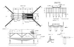 Concrete bridge section, plan and construction details dwg file