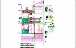 Concrete foundation slab with construction detail view dwg file