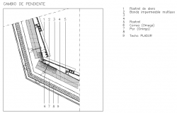Concrete inclined roof details drawing