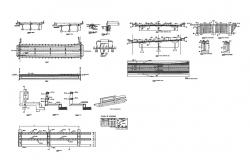 Concrete vehicular bridge constructive structure cad drawing details dwg file