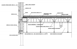 Concrete view with construction of suspend ceiling with elevation dwg file
