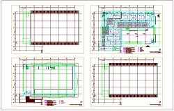 Conference building plan with view of electrical and column view dwg file