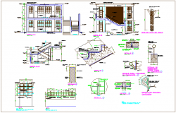 Constriction view of  education center with sectional detail and stair view dwg file