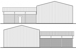Construction Details of Metal shed Warehouse Elevation dwg file