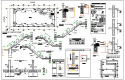 Construction Details of Multi-Flooring Bungalow Design dwg file