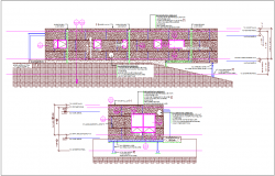 Construction design view of building elevation view dwg file