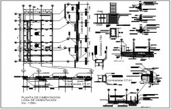 Construction detail elevation and section plan dwg file