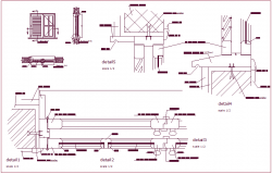 Construction detail of door with sectional view dwg file