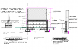 Construction detail of foundation and wall section view detail dwg file