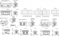 Construction detail of roof shade structure dwg file