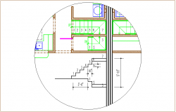 Construction detail of stair dwg file