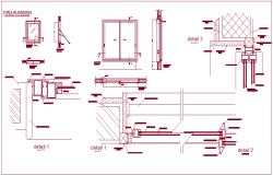 Construction detail of window with sectional view dwg file