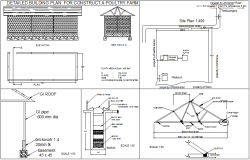 Construction detail view of poultry farm plan with detail dwg file