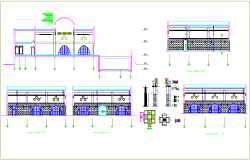 Construction detail view with door design dwg file