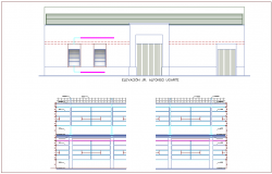 Construction detail view with elevation and different axis section view dwg file