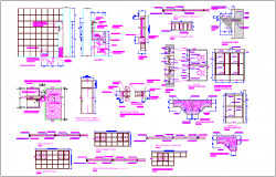 Construction detail view with plan and elevation of flat urinary dwg file