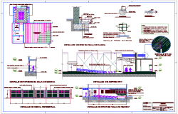Construction detail with different sectional detail view for school dwg file