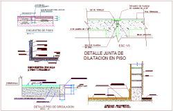 Construction detail with meting floor of school dwg file