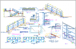 Construction detail with stair and wall for education center dwg file