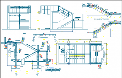 Construction detail with stair view of school dwg file