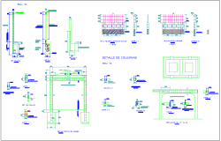 Construction detail with wall and wall support dwg file