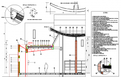 Construction details of curved roof garden dwg file