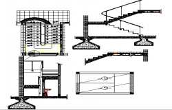 Construction details of stairs of house dwg file