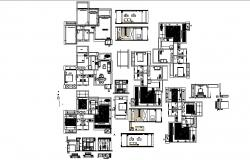 Construction plan of the residential house with interior design in AutoCAD