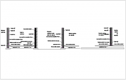Construction view  of wall and cabin elevation dwg file