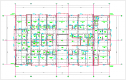 Construction view of  wall for collage third floor plan dwg file