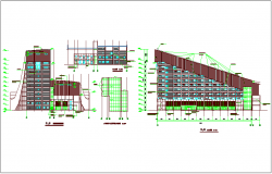Apartment construction with elevation & stair case detail dwg file