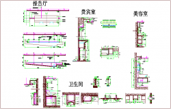Construction view of club house dwg file