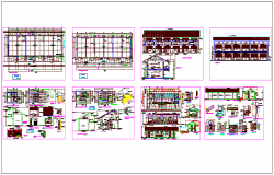 Construction view of college building dwg file