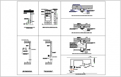 Construction view of different mounting system dwg file