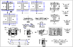 Construction view of different shaped section view dwg file