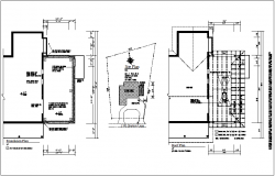 Construction view of foundation and roof plan dwg file