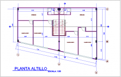 Construction view of housing and office area plan dwg file