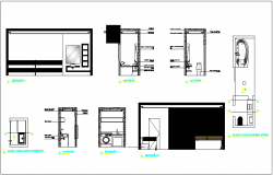 Construction view of kitchen dwg file