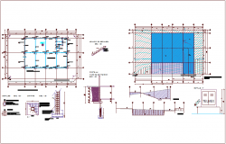 Construction view of office building with plan and detail view dwg file