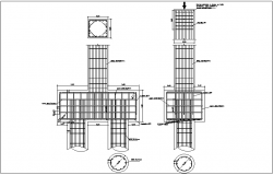 Construction view of pilling detail dwg file