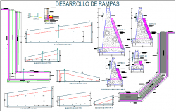 Construction view of ramp for collage dwg file