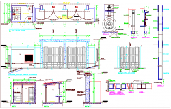 Construction view of school plan and sectional view with detail dwg file