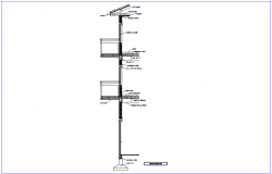 Construction view of section of column and floor dwg file