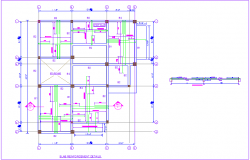 Construction view of slab reinforcement detail with section view for house dwg file