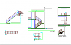 Construction view of stair with necessary detail dwg file