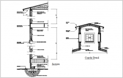 Construction view of wall and cupola detail dwg file