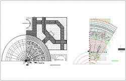 Construction view of wall and lotus design view dwg file