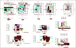 Construction view of wall for house dwg file